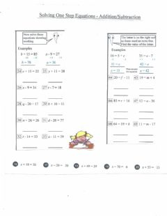 Interactive worksheet Solving 1 step equations
