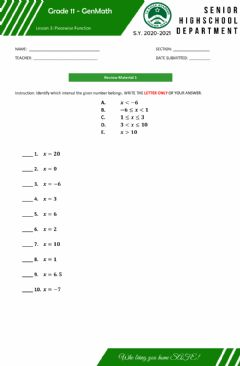 Interactive worksheet Review on Intervals-Inequality Symbols