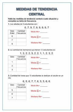 Interactive worksheet Medidas de tendencia central Básicas
