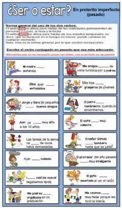 Interactive worksheet SER y ESTAR en pasado (preterito imperfecto)