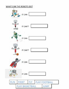 Interactive worksheet Robots - CAN -CAN'T