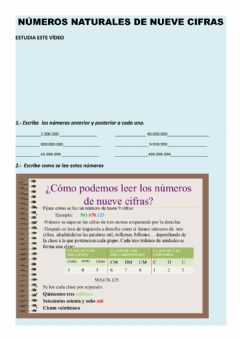 Interactive worksheet Numeros naturales hasta 9 cifras