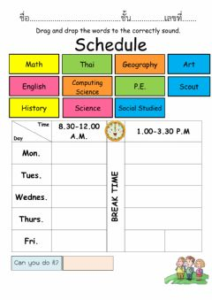 Interactive worksheet My learning schedule