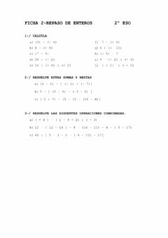 Interactive worksheet Ficha 2 Repaso enteros