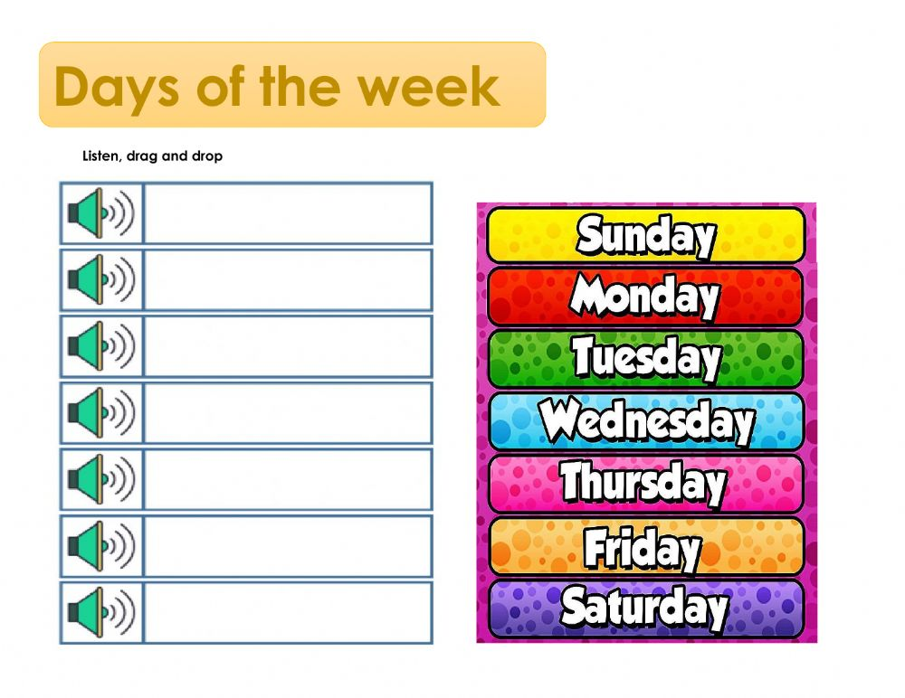 Days Of The Week Online Exercise For I