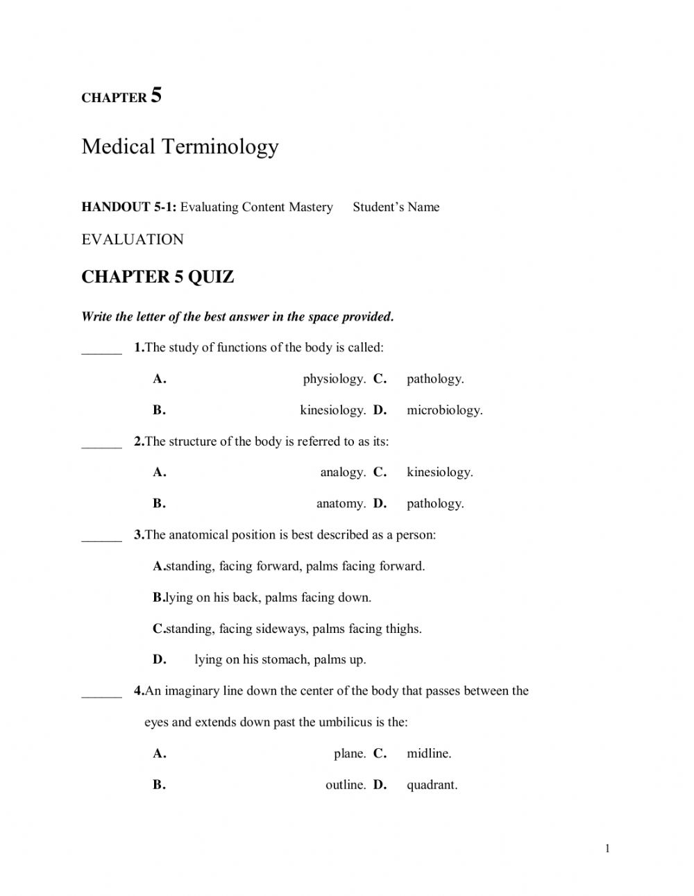 EMT Chapter 22 Medical Terminology worksheet In Anatomical Terms Worksheet Answers