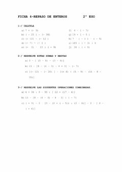 Interactive worksheet Ficha 4 Repaso enteros