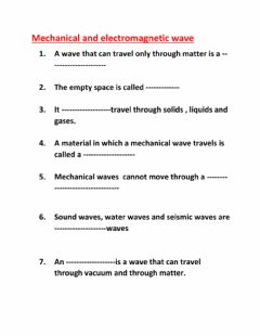 Interactive worksheet Mechanical and transverse waves