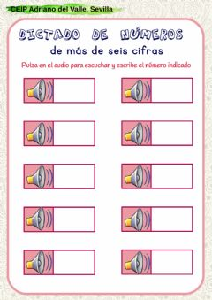Interactive worksheet Dictado millones