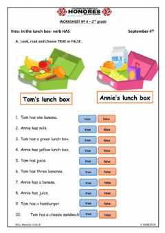 Interactive worksheet In my lunch box