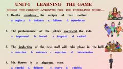 Interactive worksheet Learning  the   game-Antonyms