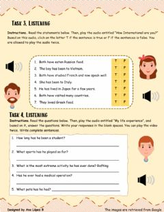 Interactive worksheet Listening: Present Perfect