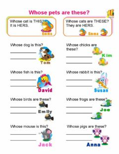 Interactive worksheet Whose pets are these?