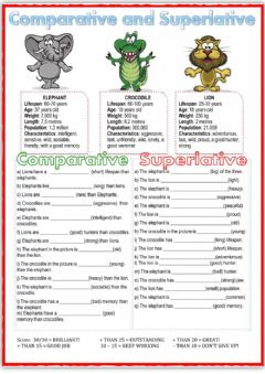 Interactive worksheet The comparative and superlative