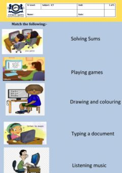 Ficha interactiva Uses of Computer for Year 3