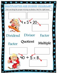 Interactive worksheet Multiplication and Division Vocabulary