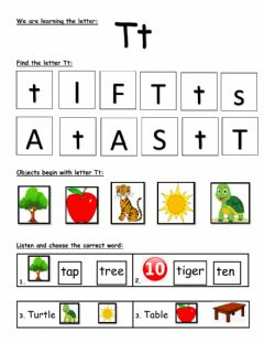 Interactive worksheet Letter T