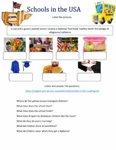 Interactive worksheet Schools in the USA