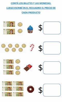 Interactive worksheet BILLETES DE 10 Y MONEDAS DE 1