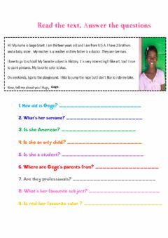 Interactive worksheet Reading Comprehension - Personal Information