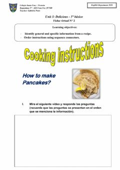Interactive worksheet Cooking instructions and sequence connectors