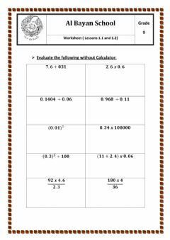 Interactive worksheet Fractions and Decimals