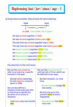 Interactive worksheet Rephrasing: last, for, since, ago - 1