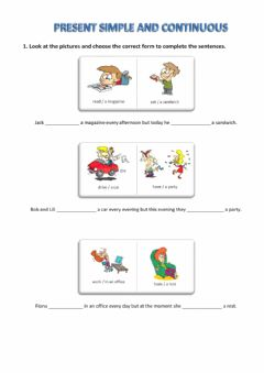 Interactive worksheet Present Simple and Present Continuous