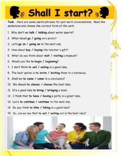 Interactive worksheet Shall I Start? Conversation starters