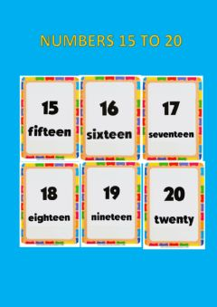Interactive worksheet Numbers 15 to 20