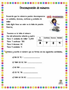 Interactive worksheet Descomponer números