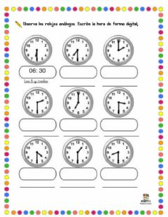 Interactive worksheet Leer el reloj