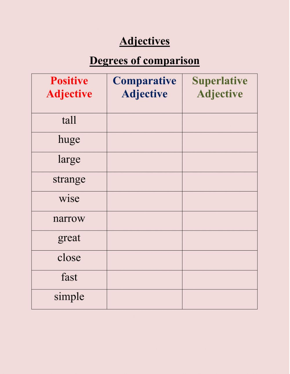 Comparison of Adjectives free online exercise