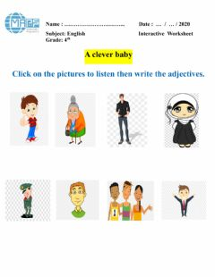 Interactive worksheet Common adjectives