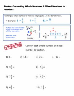 Interactive worksheet Starter: Converting Wholes and Mixed to Fractions