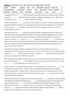 Interactive worksheet Merlin's story