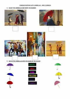 Ficha interactiva Famous Paintings with umbrellas