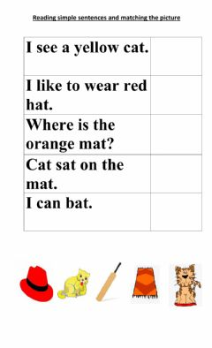 Interactive worksheet Reading sight words and at words and colours