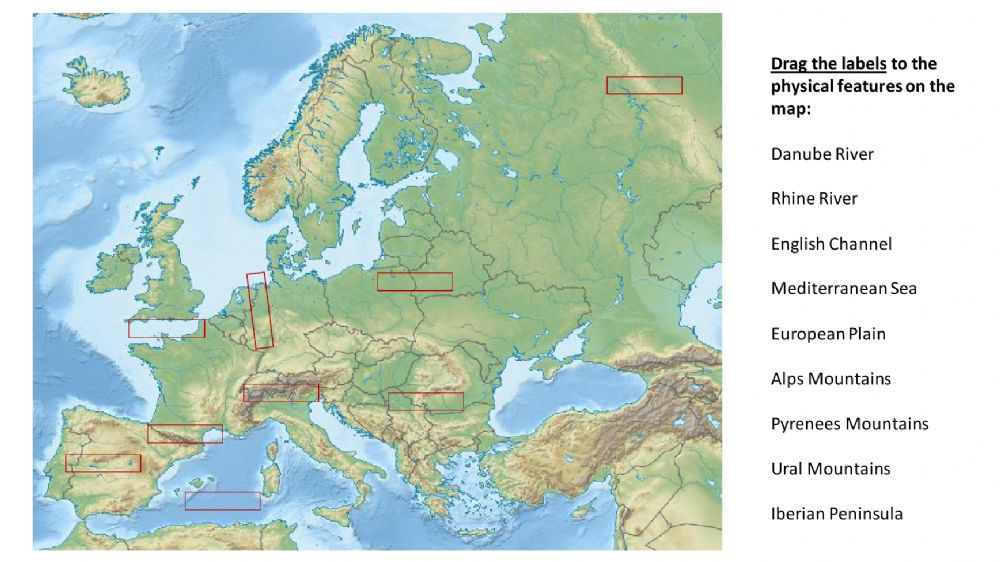 Ejercicio de Europe Physical Features Map SS6G7