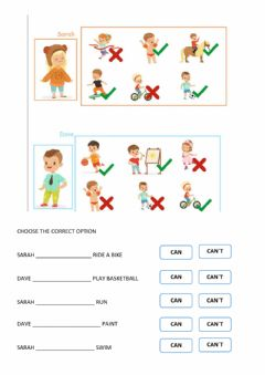 Interactive worksheet Yes i can, no i can-t