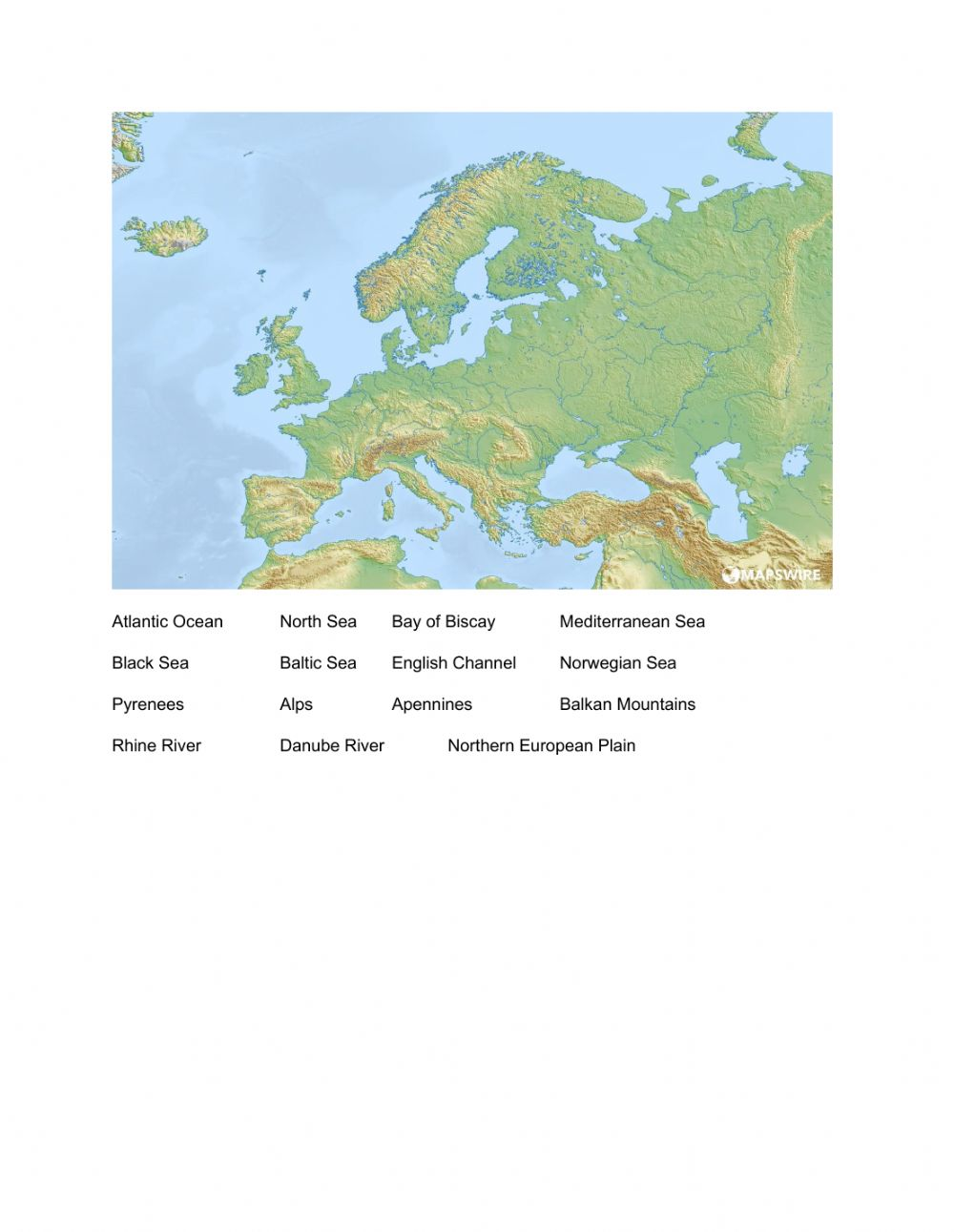 Image of: Physical Geography Of Europe Worksheet