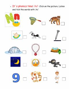 Interactive worksheet It-s phonics time: -n- sound