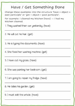 Interactive worksheet Have-Get something done