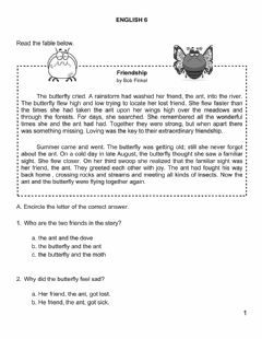Interactive worksheet English 6 Fable