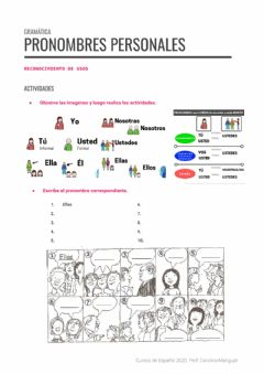 Interactive worksheet Pronombres Personales