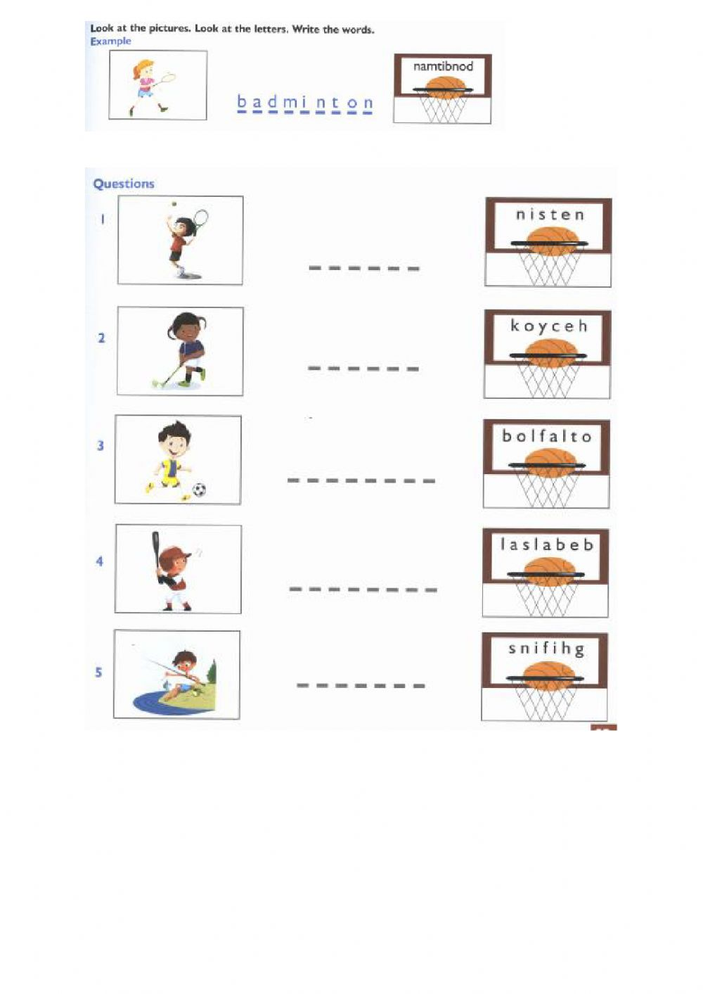 Look At The Pictures Look At The Letters Write The Words Worksheet