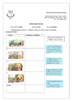 Interactive worksheet Fábulas interativas