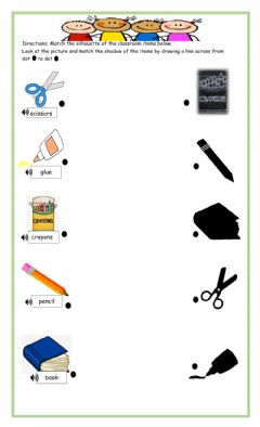 Interactive worksheet Classroom items