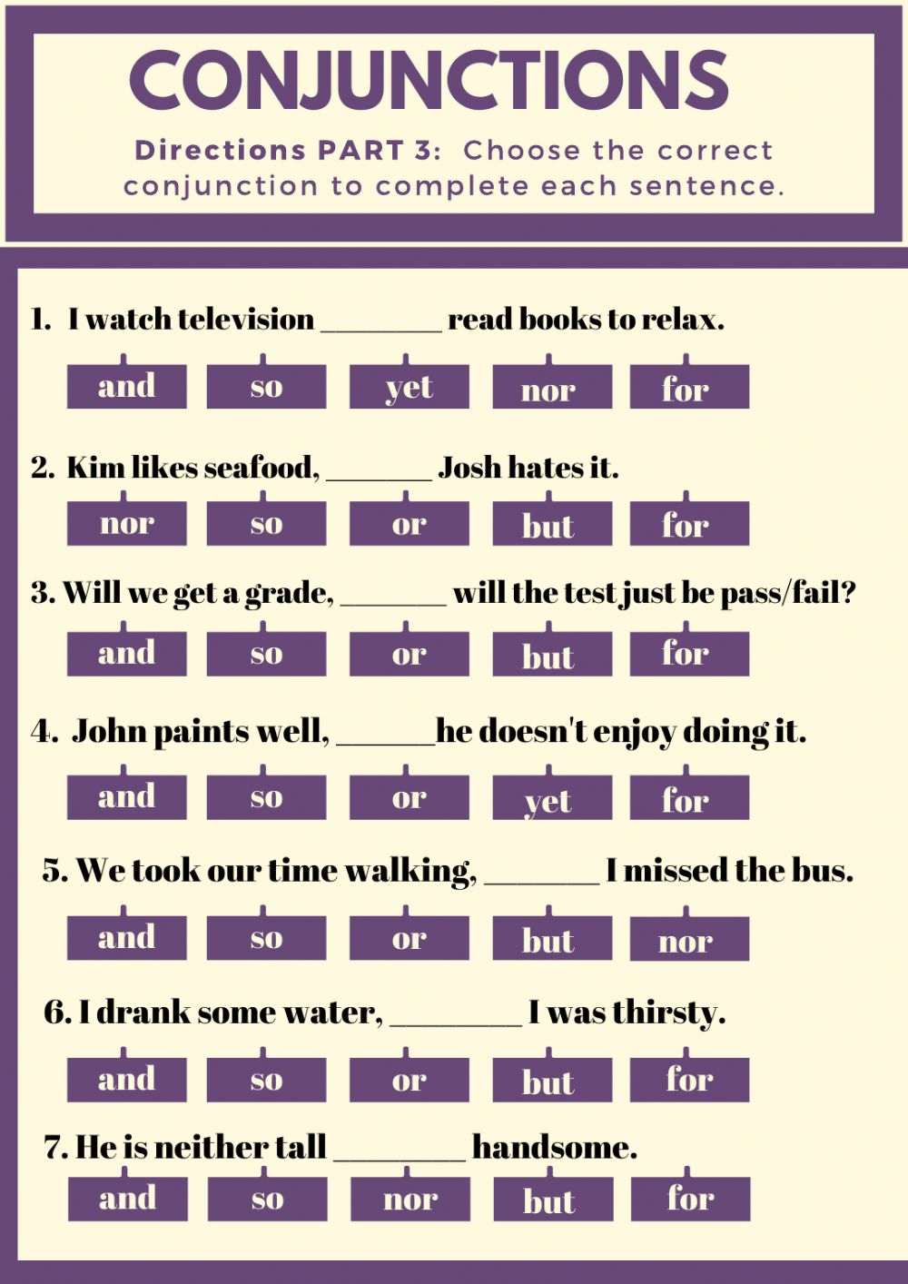 Parts of Speech: Conjunctions worksheet