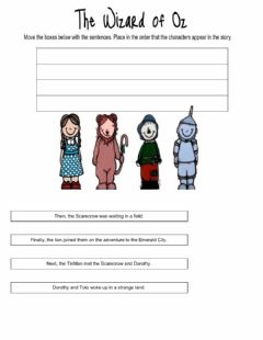 Interactive worksheet The wizard of oz, sequence of events